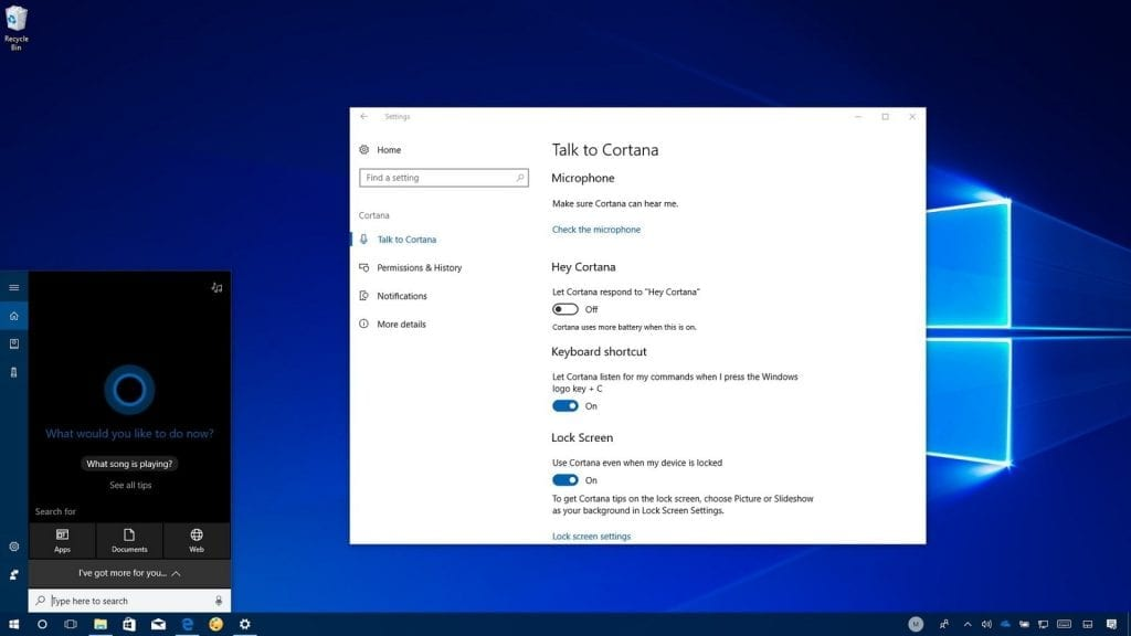 Cortana Configuration on Windows 10