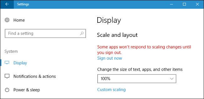 Display Scaling Settings on Windows 10